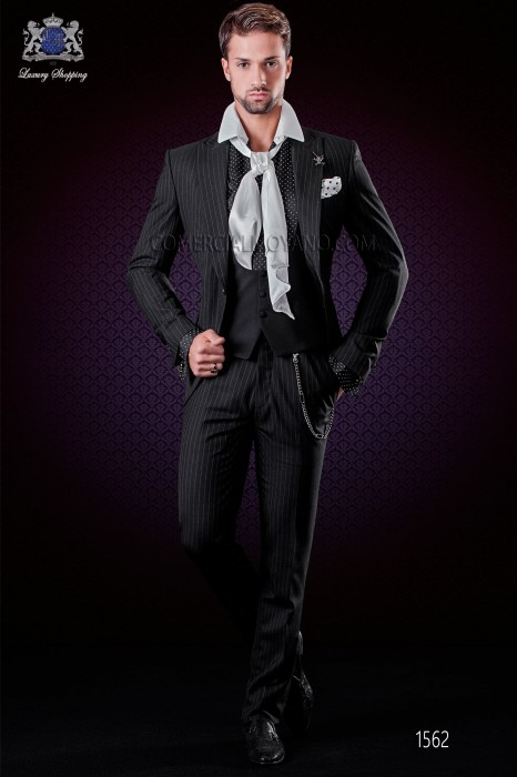 Italian black pinstripes wedding suit. Peak lapels and 1 button. Wool fabric.