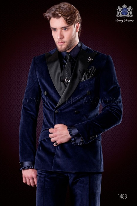 Italian blue velvet fashion double breasted suit. Satin black peak lapels and 6 buttons.