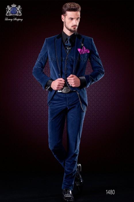 Italian blue velvet fashion suit. Black satin collar, peak lapels with satin trims and 1 button.