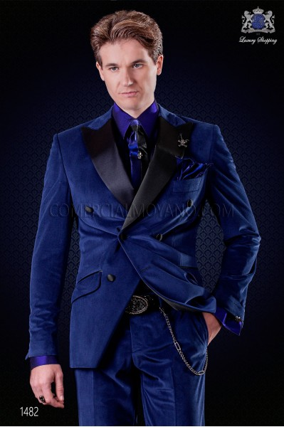Italian royal blue velvet fashion double breasted suit. Satin black peak lapels and 6 buttons.
