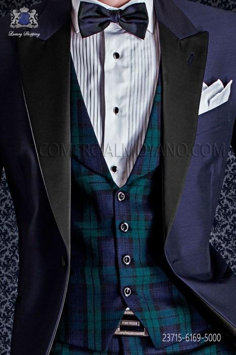 Blue & green tartan waistcoat shawl lapel