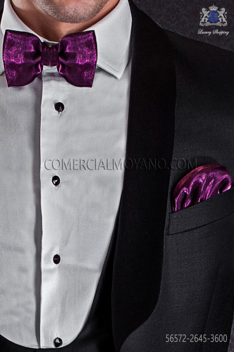 Fuchsia lurex bow tie and hanky