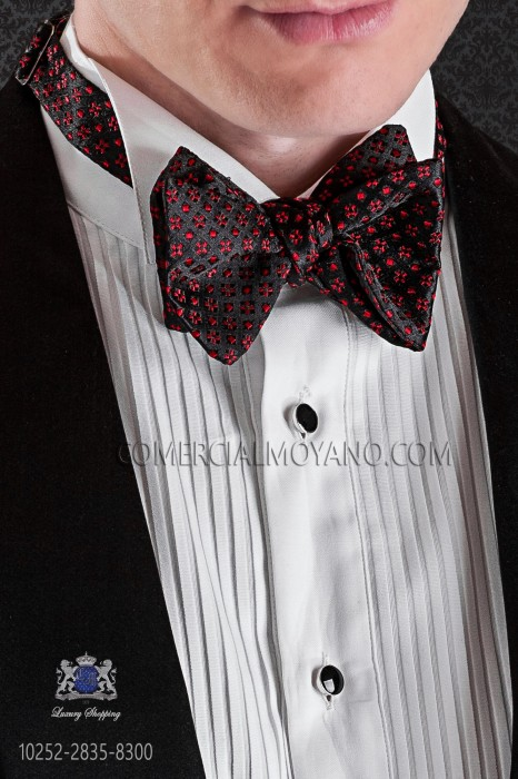 Black and red designs silk bow tie