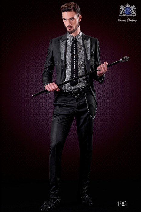 Italian fashion black groom suit. Peak lapels with silver embroidery and 1 button.