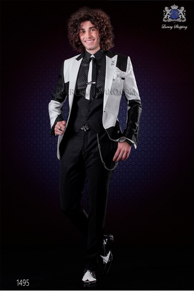 Patchwork jacket black and white. Peak lapels and 1 button. Wool mix fabric.