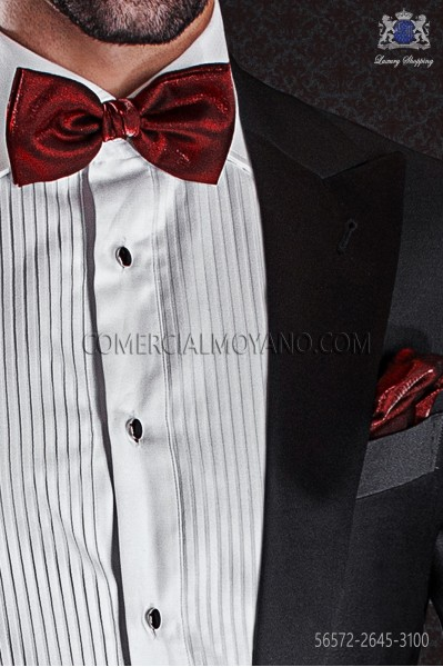Red lurex bow tie and hanky