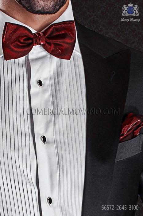 Red lurex bow tie and hanky 56572-2645-3100 Ottavio Nuccio Gala