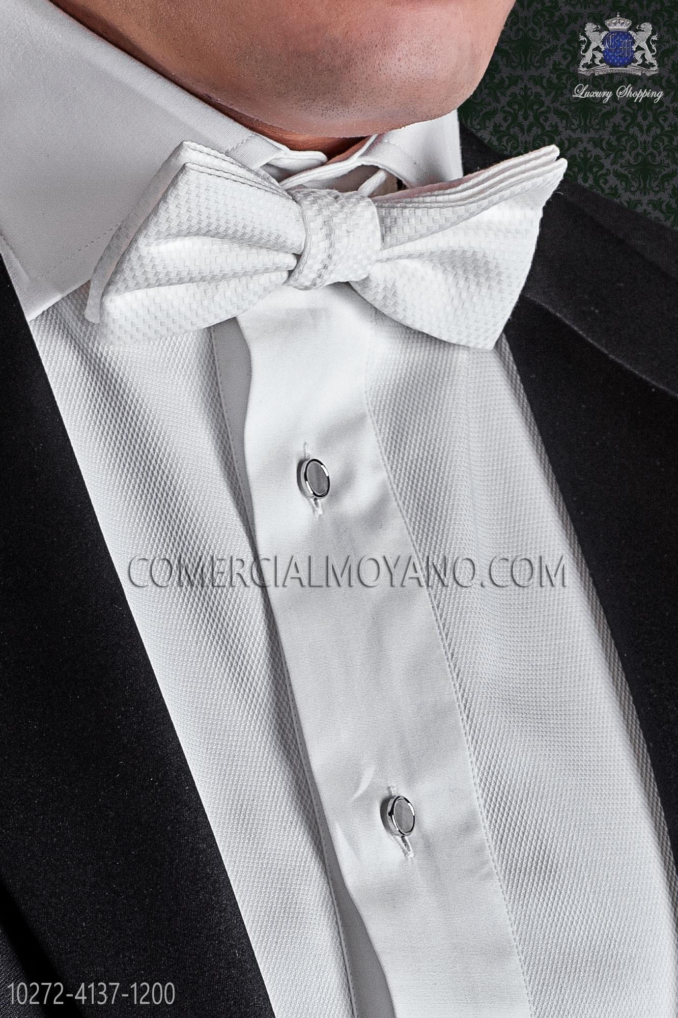 profiter de prix bas styles divers magasin en ligne Nœud papillon blanc en tissu de coton piqué