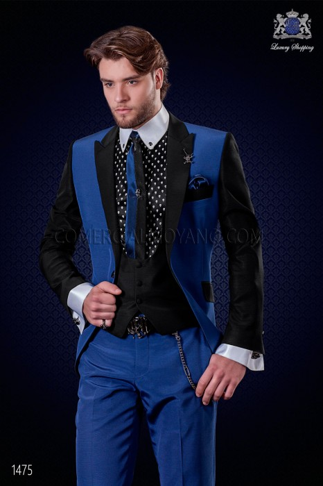 Italian patchwork suit electric blue and black. Peak lapels and 1 button. Wool mix fabric.