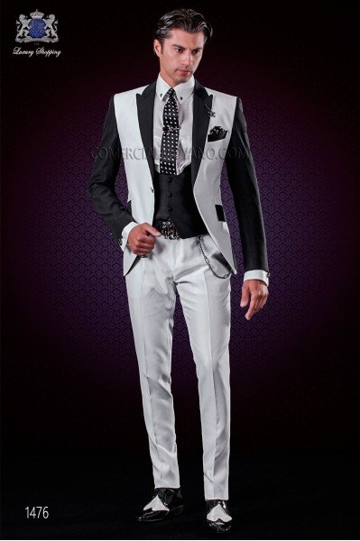 Italian patchwork suit black and white. Peak lapels and 1 button.