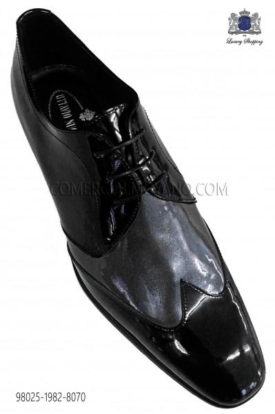 Zapatos gris bicolor cuero negro 98025-1982-8070 Ottavio Nuccio Gala