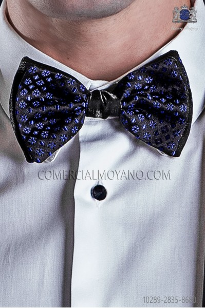 Bicolor black with electric blue micro-designs bow tie in pure jacquard silk