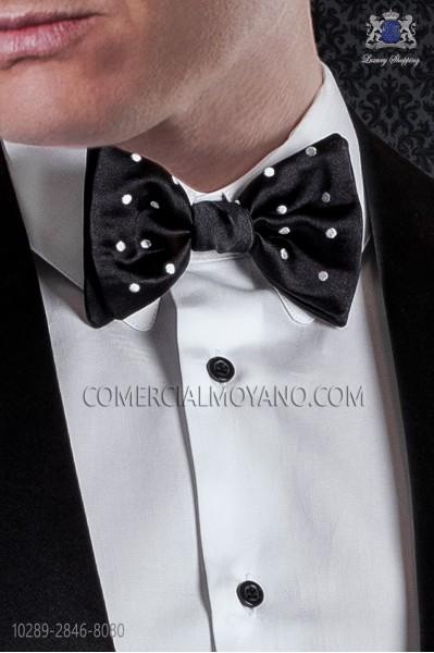 Pajarita bicolor raso negro con topos blancos