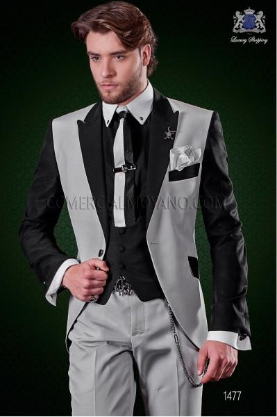 Traje de novio patchwork gris perla y negro. Solapas de punta y 1 botón. Tejido mixto lana.