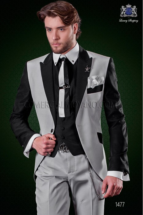 Italian patchwork suit pearl grey and black. Peak lapels and 1 button. Wool mix fabric.