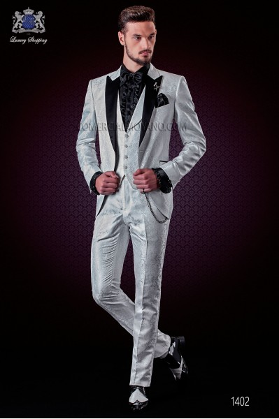 Italian fashion wedding suit white jacquard. Satin black peak lapel and 1 button.