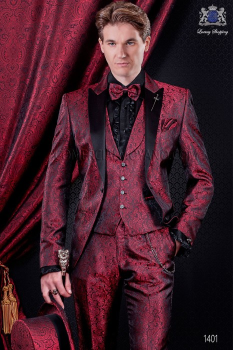 Italian fashion wedding suit red and black. Satin black peak lapel and 1 button.