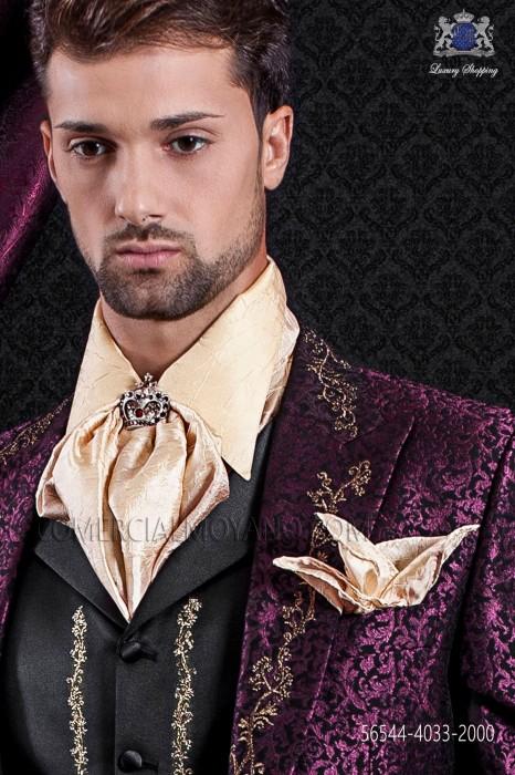 Golden plastron and pocket handkerchief crumpled effect