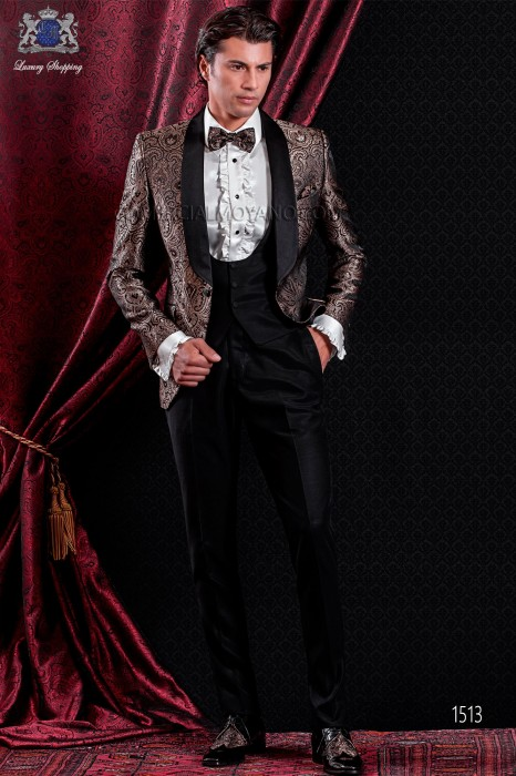 Italian fashion brown jacquard jacket. Satin black shawl collar and 1 button.