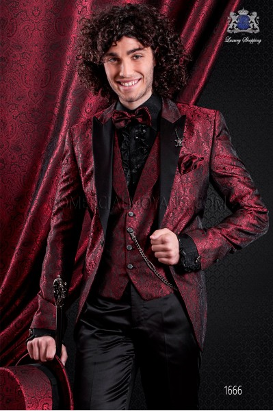 Italian fashion jacquard jacket red and black. Satin black peak lapel and 1 button.