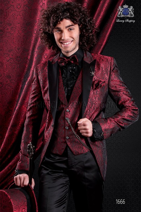 Italian fashion jacquard jacket red and black. Satin black peak lapel and 1 button.
