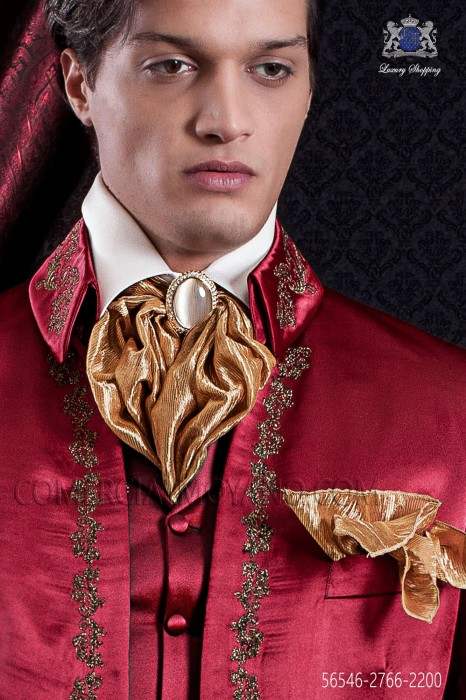 Golden lace plastron tie with pocket handkerchief