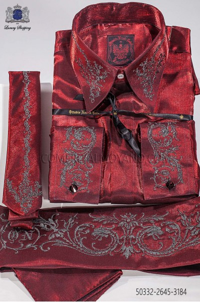 Red lurex shirt and accesories with Drako embroidery