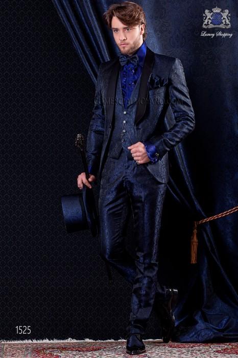 Italian fashion tuxedo blue jacquard. Satin black shawl collar and 1 button.