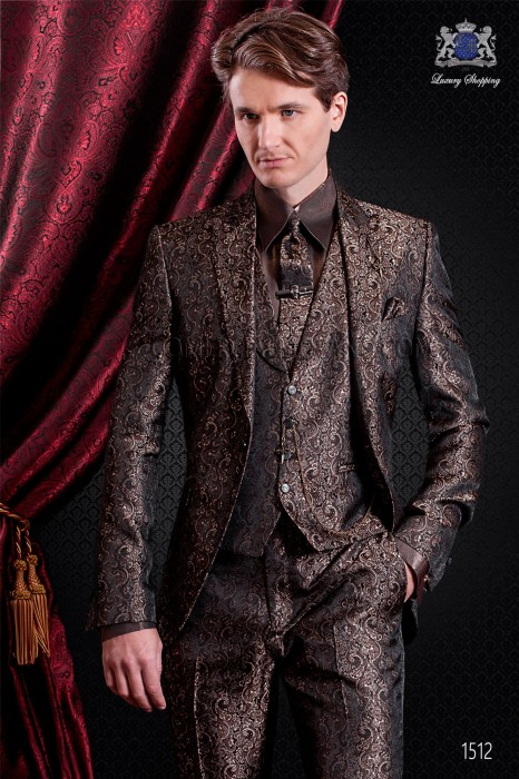 Italian fashion wedding suit brown jacquard. Peak lapel and 1 button.