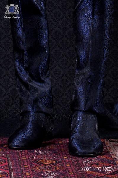 Blue and black jacquard slipper shoes