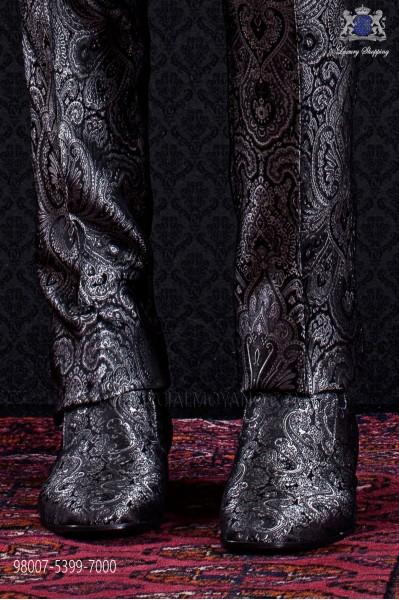 Zapatos slipper jacquard gris y negro
