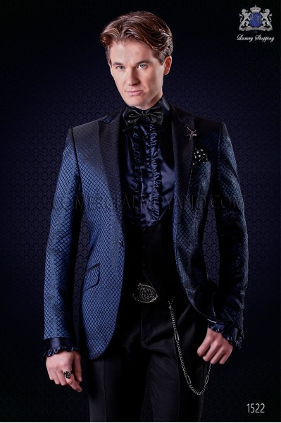 Italian fashion jacket blue and black. Peak lapel and 1 button. Quilted lurex brocade fabric.