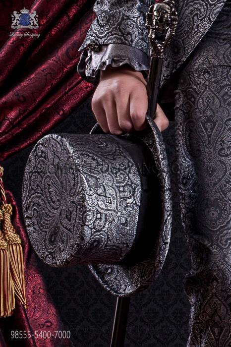 Gray jacquard top hat plain fabric matching suit