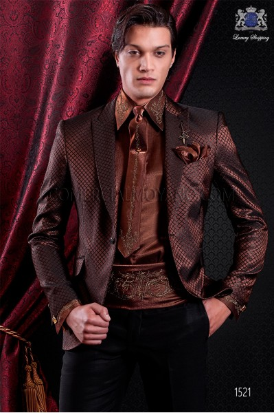 Italian fashion jacket brown and black. Peak lapel and 1 button. Quilted lurex brocade fabric.