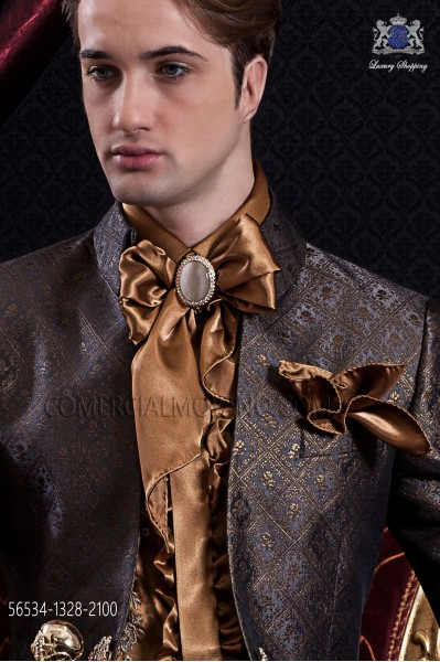 Gold foulard and pocket handkerchief