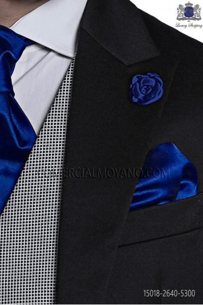 Electric blue satin handkerchief