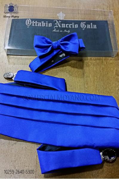 Electric blue satin tuxedo cummerbund