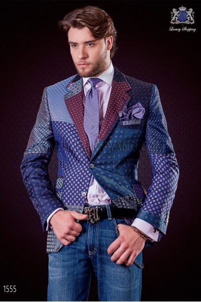 Chaqueta patchwork italiana en jacquard de pura seda tonos azules