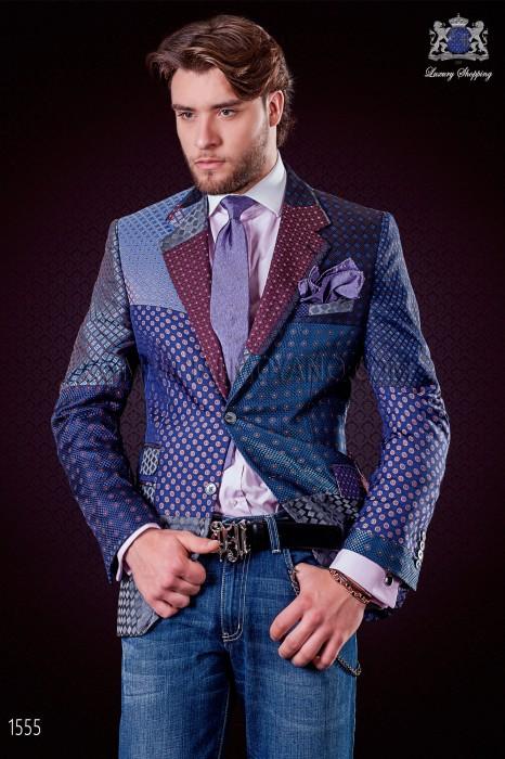 Italian patchwork jacket made of pure jacquard silk blue tones