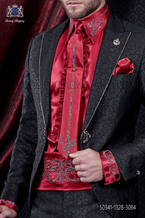 Red satin shirt and accesories with drako embroidery