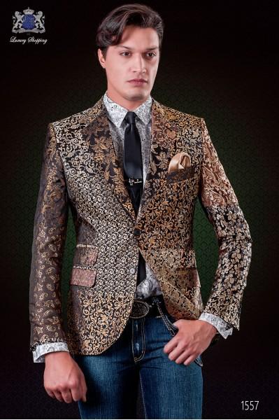 Chaqueta patchwork italiana en jacquard de pura seda tonos oro y negro