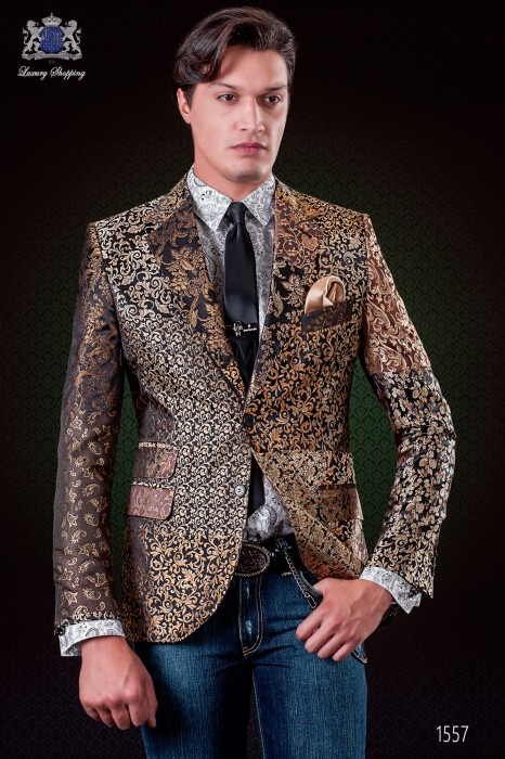 Italian patchwork jacket made of pure jacquard silk gold tones