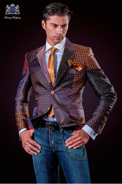 Italian patchwork jacket made of pure jacquard silk bordeaux tones.