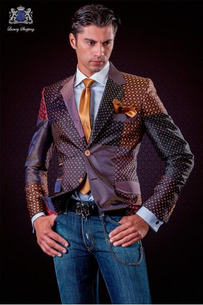 Chaqueta patchwork italiana en jacquard de pura seda tonos burdeos.