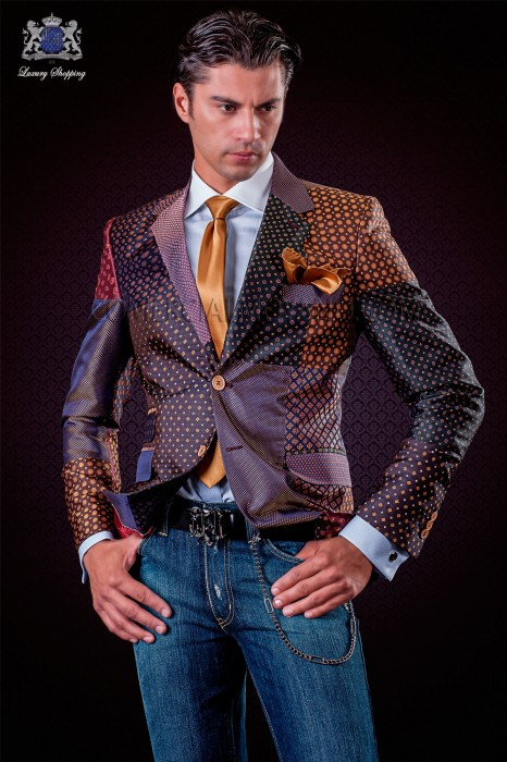 Italian patchwork jacket made of pure jacquard silk bordeaux tones.