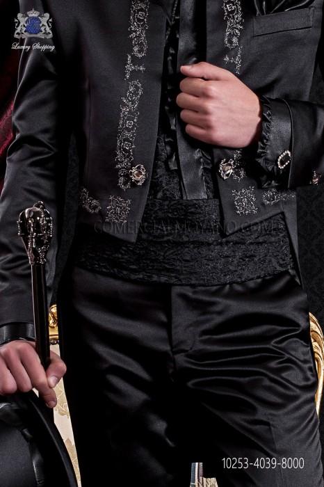 Embroidered black cummerbund