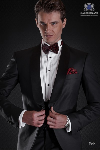 Groom tuxedo black. Elegance and excellence in evening dress for men