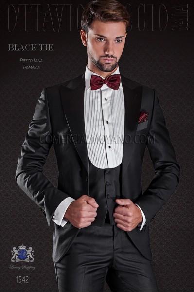Groom tuxedo black. Elegance and excellence in evening dress for men