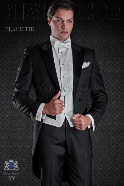 Frac groom in black color. Elegance and excellence in evening dress for men