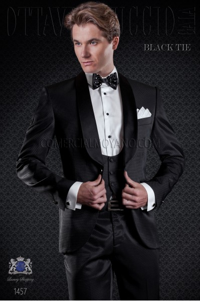 Groom tuxedo black. Elegance and excellence in evening dress for men.